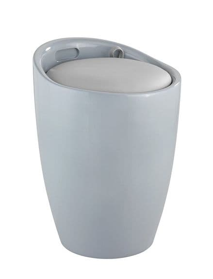 Wenko Candy Grey Laundry Bin & Bathroom Stool