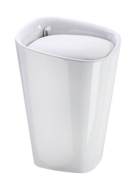 Wenko Candy White Angled Laundry Bin & Bathroom Stool