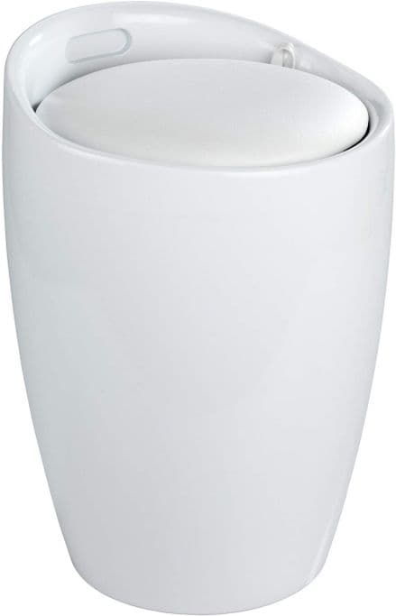 Wenko Candy White Laundry Bin & Bathroom Stool
