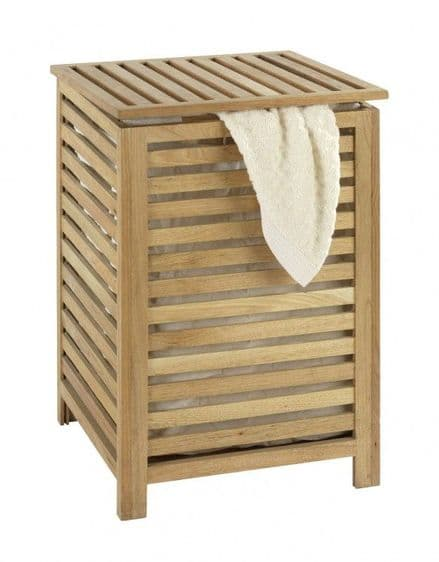Wenko Norway Walnut Laundry Basket with Cotton Wash Bag
