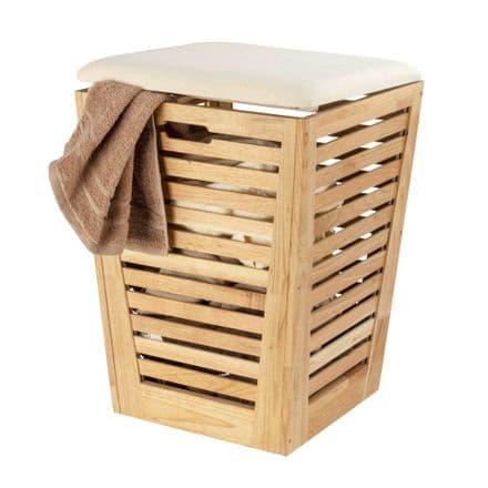 Wenko Norway Walnut Laundry Basket with Cushion