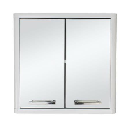 White Gloss Double Mirror Door Bathroom Cabinet