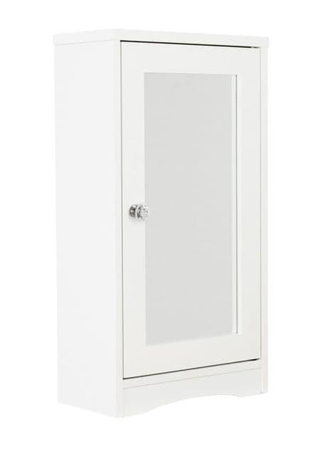 White Single Mirror Door Bathroom Cabinet