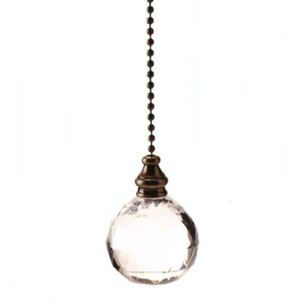 WML Antique Brass with Acrylic Ball Light Pull
