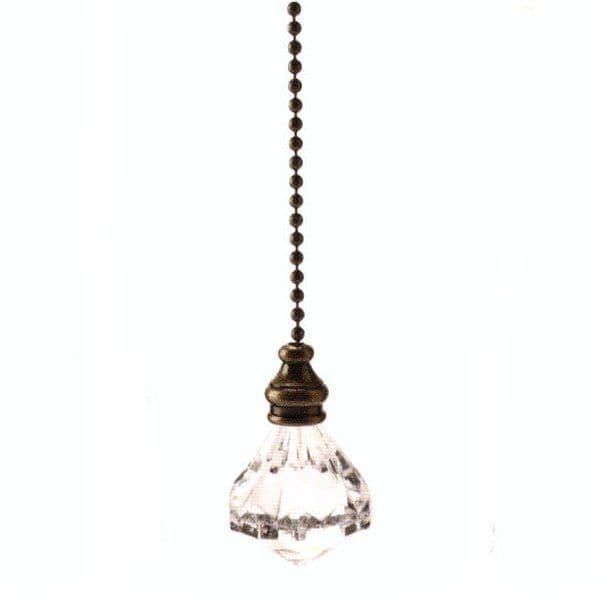 WML Antique Brass with Acrylic Diamond Light Pull
