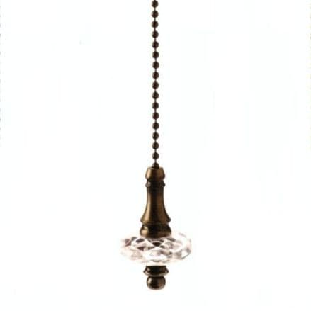 WML Antique Brass with Acrylic Disk Light Pull