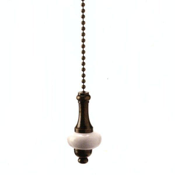 WML Antique Brass with White Ceramic Disk Light Pull