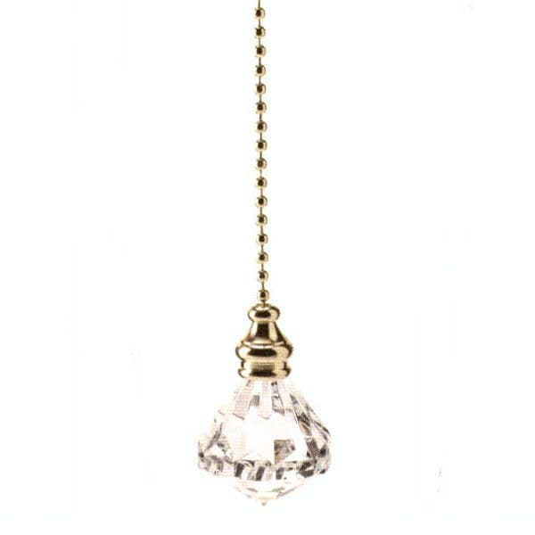 WML Polished Brass with Acrylic Diamond Light Pull