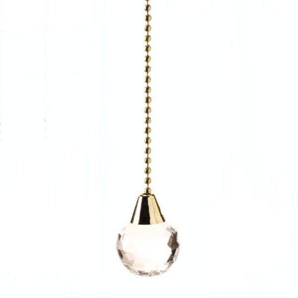 WML Polished Brass  with Acrylic Small Crystal Ball Light Pull