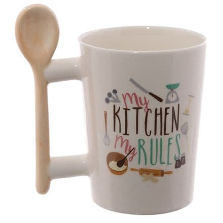 "Wooden Spoon Shaped Handle ""My Kitchen, My Rules"" Mug"