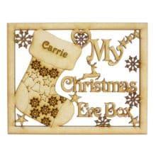 Christmas Eve Box Topper MDF My Reindeer Sack Robin, Our Doves Bells CandyCane