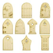 10 Mini Fairy Doors - 10 designs to chose from (A-K) - 3mm MDF wood, Laser Cut