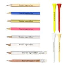 10x Mini Golf Pencils and 25x 70mm Tees - Personalised Set Laser Engraved Gift