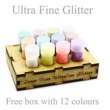 12 Colours x Ultra Fine Glitter Nail Art Wine Glass Face in 3g Pot - Free Stand