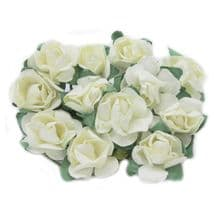 12 x 15mm IVORY Paper Rose Flowers with a 7.5cm wire stem