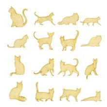 16 Cats Laser Cut 3mm MDF Craft Blank Different Cat Shapes 30mm, 40mm, 50mm tall