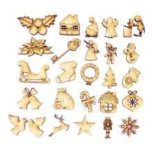 25 Advent Toppers With 25 Numbers 3mm MDF Wood Christmas Calendar Characters
