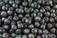 25 x 13-14mm Handmade Polymer Clay Fimo floral black flower Beads - Purple Night