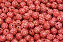 25 x 13-14mm Handmade Polymer Clay Fimo floral orange flower Beads – Rose Vif