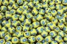 25 x 13-14mm Handmade Polymer Clay Fimo yellow flower Beads - Tahoka Amarillo