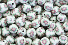 25 x 9-10mm Handmade Polymer Clay Fimo floral pink flower Beads – Florendo Ivory