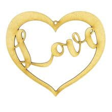 3mm MDF Love Heart with the word Love Wall decoration scrapbook card craft blank