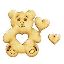 3mm MDF Wood Laser Cut Craft Shapes - Teddy Bear Heart