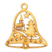 3mm MDF Wooden Christmas Tree Bauble Decoration - Bell