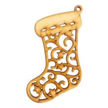3mm MDF Wooden cut out filigree star Christmas Tree Bauble Decoration - Stocking