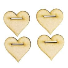 4 x 50mm Hanging Hearts cut from 3mm MDF with 2cm slit hole for ribbon