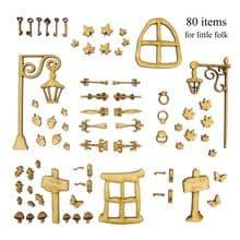 80 Piece Fairy Door Accessory Kit Laser Cut 3mm MDF, 2mm MDF, 1.5mm Ply