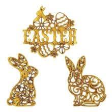 Filigree Easter Bunny 3mm MDF hanging Tree decoration scrapbook card craft blank