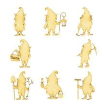 Garden Gnomes Craft Shapes Laser Cut from 3mm MDF Scrapbook Topper Pyrography