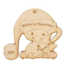 Gingerbread Baby's 1st Christmas Personalised 14.5cm tall Wood X-mas Decoration