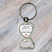 Heart Bottle Opener Key Ring Personalised Image and Text Silver Coloured Metal