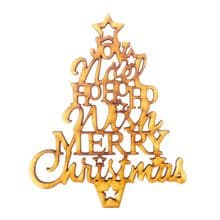 Laser Cut Wood Craft Blank Scrapbook Topper Bauble Decoration - Christmas Tree