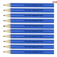 Laser Engraved Blue Wooden Round Mini Golf Pencils