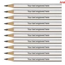 Laser Engraved Silver Wooden Round Mini Golf Pencils