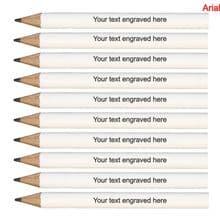 Laser Engraved White Wooden Round Mini Golf Pencils