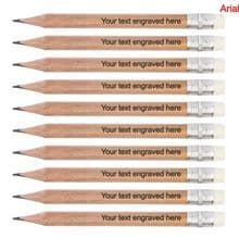 Laser Engraved Wooden Round Mini Pencils with Erasers - Weddings, Save the Date