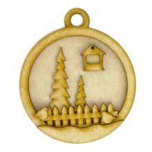 Layered Robin Bauble MDF Wood Christmas Kit to Decorate with Trees Fence Snow