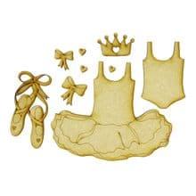 Little Tutu Set - Wood Ballet Shoes Dress Crown Leotard card book craft topper