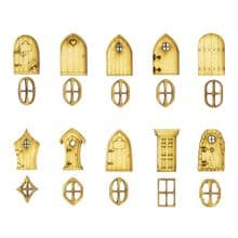 Mini Wooden Fairy doors and windows (10x3cm Doors, 10x2cm Windows) Designs A-K