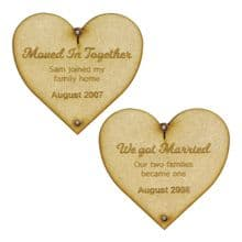 Our Love Story Hanging Hearts Decoration in 3mm MDF or Ply personalised for you