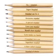Pack of 12 Personalised Laser Engraved Mini Golf Pencils Father's Day, Stepdad
