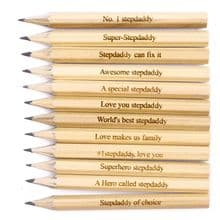Pack of 12 Personalised Laser Engraved Mini Golf Pencils Father's Day, Stepdaddy