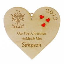 Personalised First Christmas Mrs and Mrs Hanging Heart Bauble Red Acrylic Heart