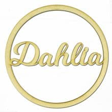 Personalised LV Name Hoop 3mm MDF Wood Circle Home Nursery Wall Sign Plaque