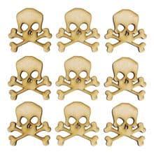 Skull and Crossbones Design 02 - Wooden 3mm MDF Laser Cut Craft Blanks Toppers
