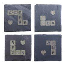 Slate Scrabble Tile Coaster - Natural Edge 10 x 10cm Personalised, Design Yours